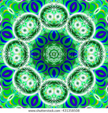 Kaleidoscope fractal in vibrant green and blue colors - stock photo