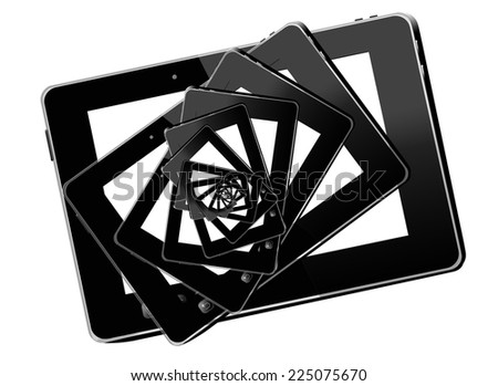 kaleidoscope from black tablets in the black tablets - stock photo