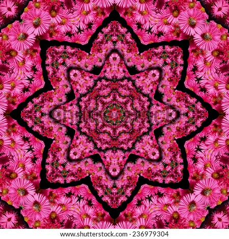 Kaleidoscope made in pc motive aster flowers - stock photo