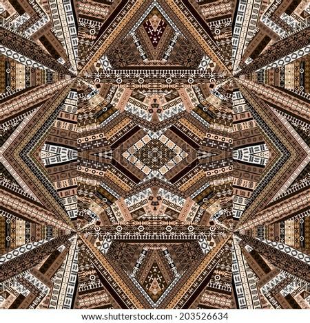 Kaleidoscope made of brown tones ethnic patchwork fabric - stock photo