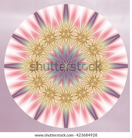 Kaleidoscope pink gray yellow brown spin spiral round twist turn round circle oval pattern various multicolors purple plumb center points arrows awesome - stock photo
