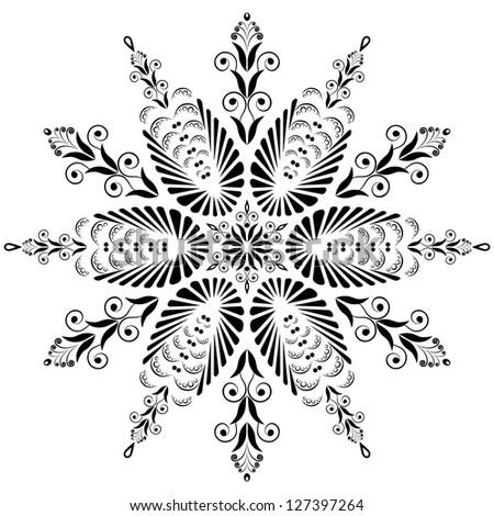 Kaleidoscopic floral pattern. Mandala in black and white - stock photo