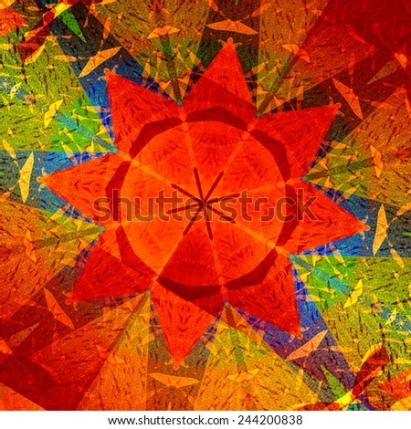Kaleidoscopic Mandala Circular Abstract Pattern - Colorful Background - Orange Red Generative Art - Concentric Multicolored Geometric Design - Digitally Generated Artistic Star - Symmetrical - stock photo
