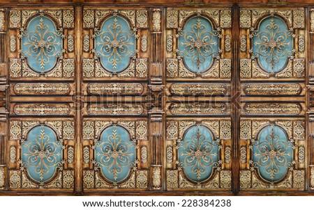 Kaleidoscopic pattern of  decorative house door - stock photo