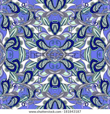 Kaleidoscopic seamless pattern in blue color. Hand drawn lined pattern. Illustration.