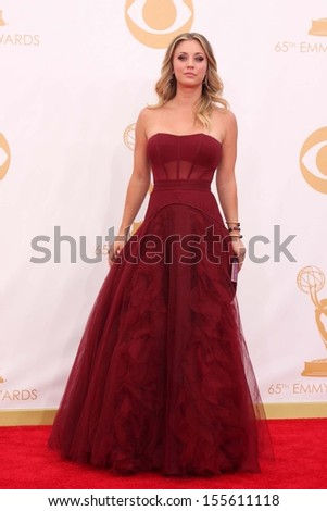 Kaley Cuoco at the 65th Annual Primetime Emmy Awards Arrivals, Nokia Theater, Los Angeles, CA 09-22-13 - stock photo