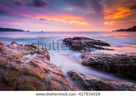 Kalim beach at sunset in Phuket Thailand
