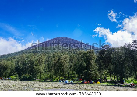 kalimati camp site before the peak of the semeru mountain