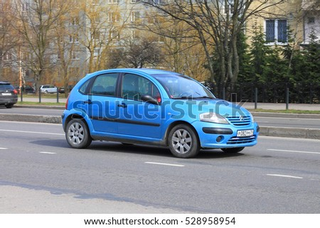 KALININGRAD, RUSSIA - APRIL 2, 2016: The blue compact Citroën C3 car on the road