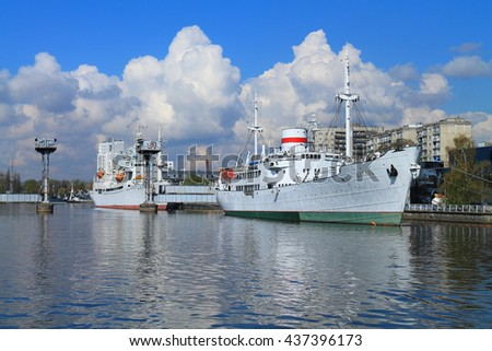 KALININGRAD, RUSSIA - APRIL 26, 2016: The research ships of Museum of the World Ocean on the Pregolya River in an April sunny day in the city of Kaliningrad