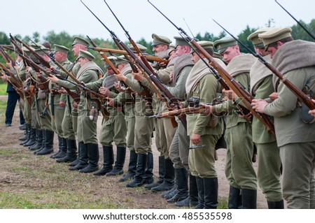 KALININGRAD RUSSIA, 21 AUGUST 2016: Historical reenactment of the Battle of Gumbinnen, World War I, Russian soldier  Kaliningrad region, Russia.