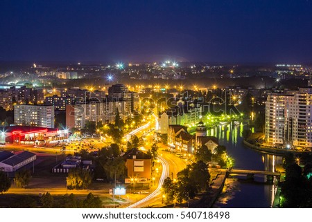 Kaliningrad, Russia - August 03, 2014: Night cityscape of Kaliningrad downtown. View from rooftop