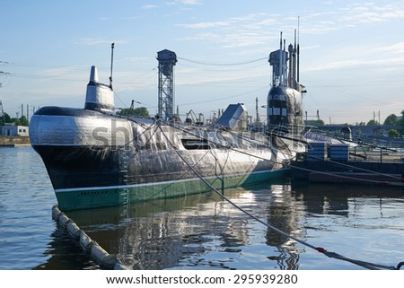 KALININGRAD, RUSSIA - MAY 21, 2015: Museum of World ocean, outdoor exposition, a Soviet submarine B-413 - stock photo