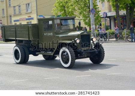 "KALININGRAD, RUSSIA - MAY 09, 2015: The ZIS-5B truck (""trekhtonka"") after parade in honor of the Victory Day"