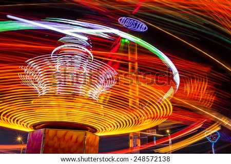 Kaliningrad, Russia, October 04 2014: Evening picture carousel in an amusement park - stock photo