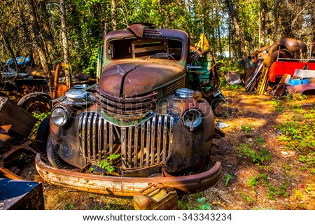 Kalispell - August 2:  Old cars and trucks in the  junk yards August 2, 2015 at Kalispel, MT. - stock photo