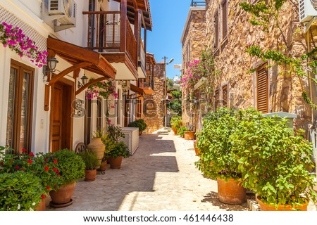 Kalkan - June 07: Old street in the center of the city. Oriental architecture. Kalkan,, Turkey, June 7, 2016