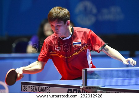 KALLANG,SINGAPORE-JUNE1:Chanakran.U of Thailand in action during the 28th SEA Games Singapore 2015 between Thailand and Cambodia at Singapore Indoor Stadium on June1 2015 in SINGAPORE.  - stock photo