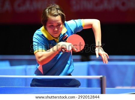 KALLANG,SINGAPORE-JUNE1:Nanthana.K of Thailand in action during the 28th SEA Games Singapore 2015 between Thailand and Indonesia at Singapore Indoor Stadium on June1 2015 in SINGAPORE. - stock photo