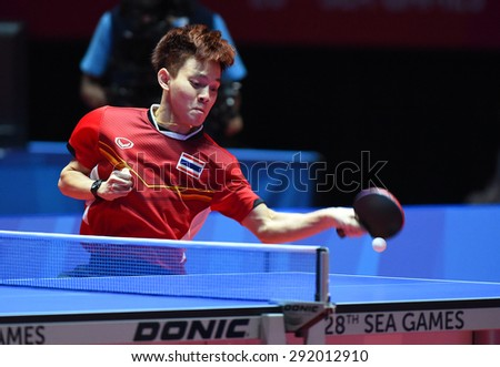 KALLANG,SINGAPORE-JUNE1:Padasak.T of Thailand in action during the 28th SEA Games Singapore 2015 between Thailand and Cambodia at Singapore Indoor Stadium on June1 2015 in SINGAPORE.