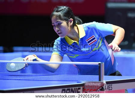 KALLANG,SINGAPORE-JUNE1:Suthasini.S of Thailand in action during the 28th SEA Games Singapore 2015 between Thailand and Indonesia at Singapore Indoor Stadium on June1 2015 in SINGAPORE.  - stock photo