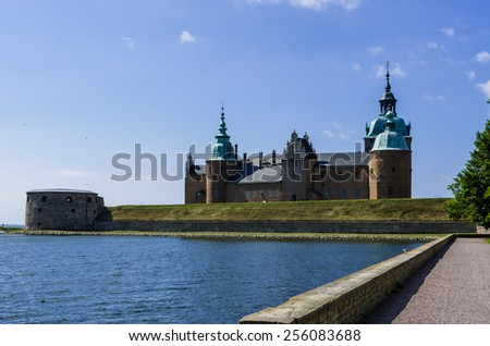 Kalmar Castle in the Renaissance style situated on the seafront in Sweden.