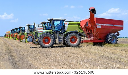 Kalush, Ukraine - July 22: Agricultural machinery Claas before harvest in the field near the town Kalush, Western Ukraine July 22, 2015