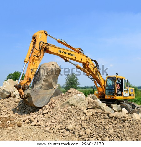 Kalush, Ukraine - July 8: On the construction of a protective dam near the town of Kalush, Western Ukraine July 8, 2015