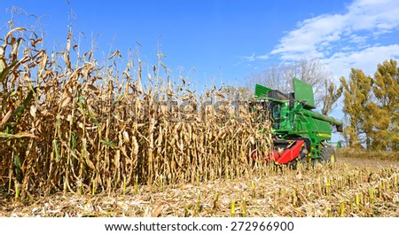 Kalush, Ukraine - OCTOBER 14: Modern John Deere combine harvesting corn on the field near the town Kalush, Western Ukraine on October 14, 2014 - stock photo