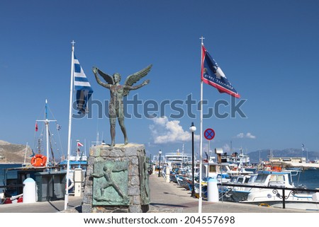Kalymnos island at Dodecanese in Greece. Statue of Nike - stock photo