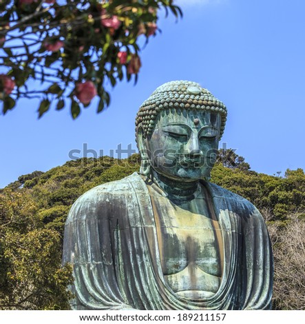 Kamakura Daibutsu with Rose foreground
