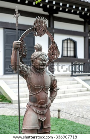 Kamakura, Japan - September 25: Hasedera Temple statue in Kamakura, Japan on September 25 2015. Hasedera is  most famous for its statue of Kannon, the goddess of mercy.