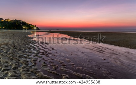 Kamala beach, Phuket nice reflection at sunset - stock photo