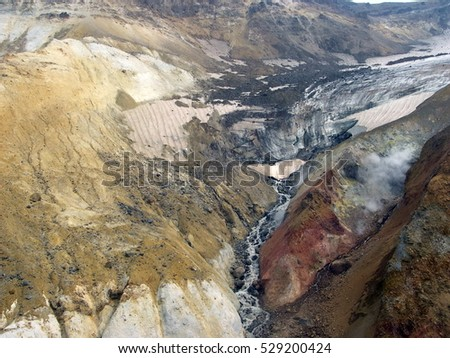 Kamchatka Peninsula, Russia. The Valley of Geysers. View from above. Kronotsky Biosphere Reserve.