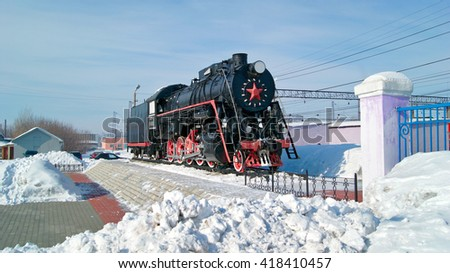 KAMENSK-URALSKIY, RUSSIA - FEBRUARY, 4. Old russian freight locomotive L-4305 on railway station square of the city Kamensk-Uralsky on February 4, 2011. Sverdlovsk region, Russian Federation.