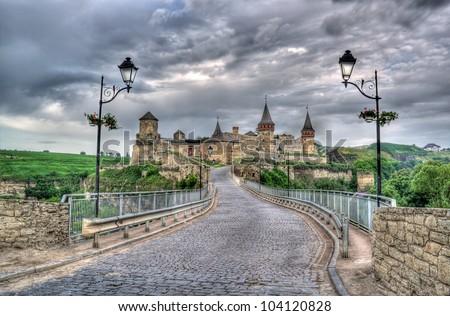 Kamianets-Podilskyi Castle and Turkish bridge. Ukraine. HDR image - stock photo