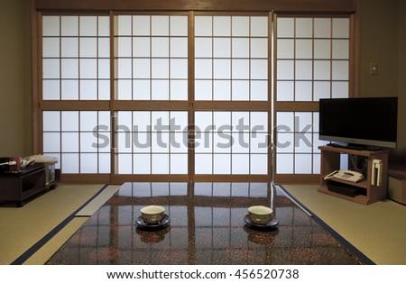 KAMIKOCHI,JAPAN- MAY 22,2016: Interior of a traditional Japanese room. - stock photo