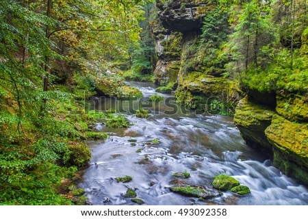 Kamnitz Gorge landscape also Edmundsklamm and hiking trails in the Bohemian Switzerland in Hrensko czech republic