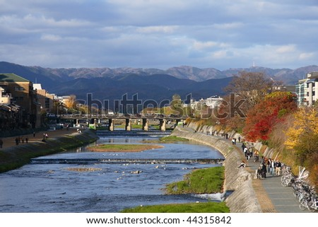 Kamo river in the center of Kyoto in autumn