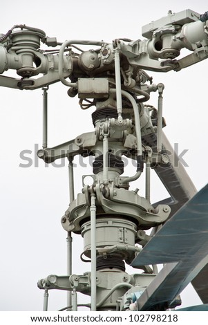 Kamov helicopter rotor hub closeup on white - stock photo
