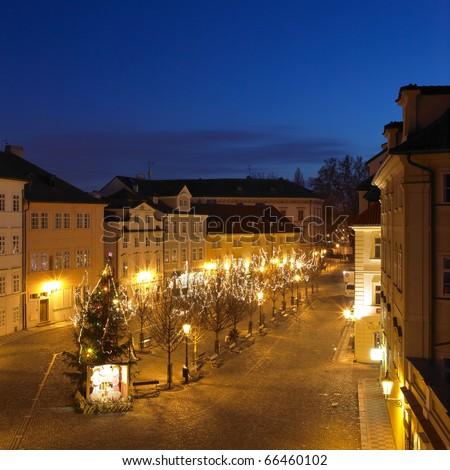 Kampa at night, Prague, Czech Republic - stock photo