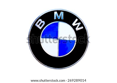 "KAMPHAENG PHET, THAILAND - APRIL 10,2015 : Logo of the brand ""BMW"" on car - stock photo"