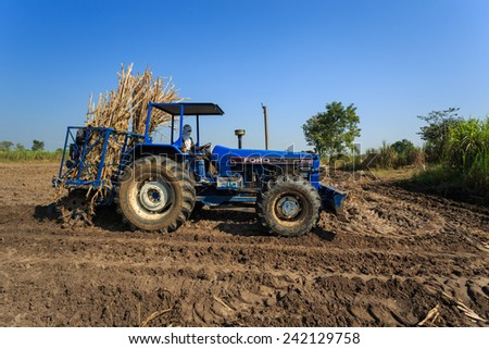 Kamphaengphet, Thailand - 14 December 2014:Farmer was drove tractor for sugarcane planting.