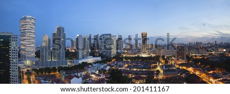 Kampong Glam with Singapore City Skyline and Sultan Mosque Aerial View during Evening Blue Hour Panorama