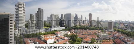 Kampong Glam with Singapore City Skyline and Sultan Mosque Aerial View Panorama - stock photo