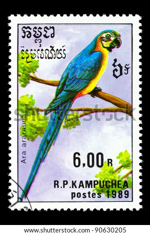 KAMPUCHEA - CIRCA 1989: a stamp printed by KAMPUCHEA shows birds-parrot, series animals, circa 1989