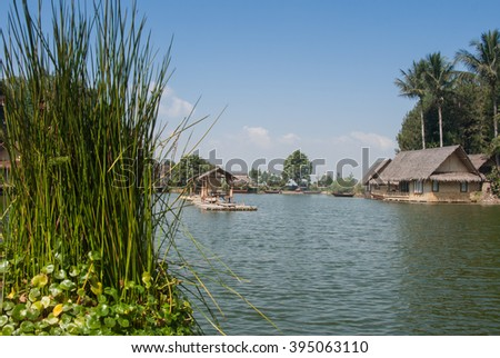 Kampung Sampireun, Garut, West Java, Indonesia - August 8, 2008 : View from the end of the lake