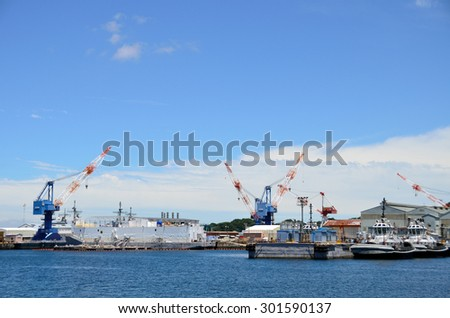 Kanagawa, JAPAN - July 15, 2015; A photo of a Japan Maritime Self-Defense Force submarines in Yokosuka port. Yokosuka Port is naval port. Many of the JMSDF and the US Navy of ships is at anchor.