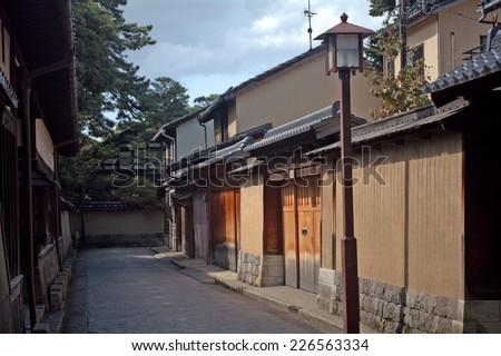 KANAZAWA, JAPAN - SEPTEMBER 27: Nagamachi samurai district at September 27, 2014 in Kanazawa, Japan. Kanazawa has one of the best preserved samurai district in Japan. - stock photo