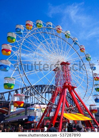 KANCHANA, SYDNEY, AUSTRALIA - NOVEMBER 29, 2014: Photo of Ferry wheels at Luna Park